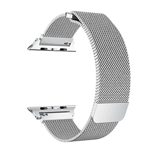 SICCIDEN Compatible for Apple Watch Band 38mm, Milanese Mesh Loop Magnetic Closure Clasp Stainless Steel Replacement iWatch Band Compatible for Apple Watch Series 3 Series 2 Series 1, Silver by SICCIDEN (Image #1)