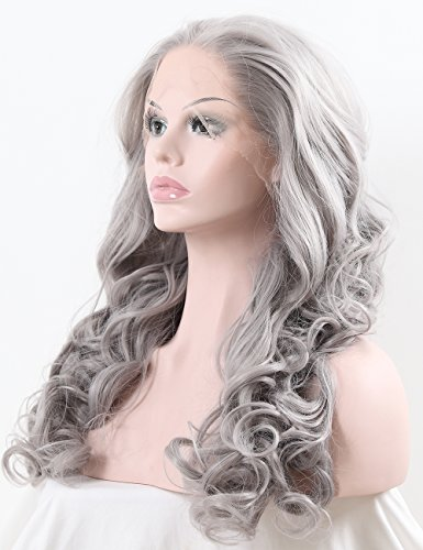 TANYAWIGS Gray Wavy Synthetic Lace Front Wigs Big Loose Wavy Heat Resistant Hair Glueless Cap For Fashion Woman ()