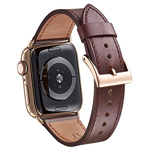 WFEAGL Compatible iWatch Band 42mm 44mm, Top Grain Leather Band with Gold Adapter (The Same as Series 4 with Gold Stainless Steel Case in Color) for iWatch Series 4/3/2/1(Dark Brown Band+Gold Adapter)