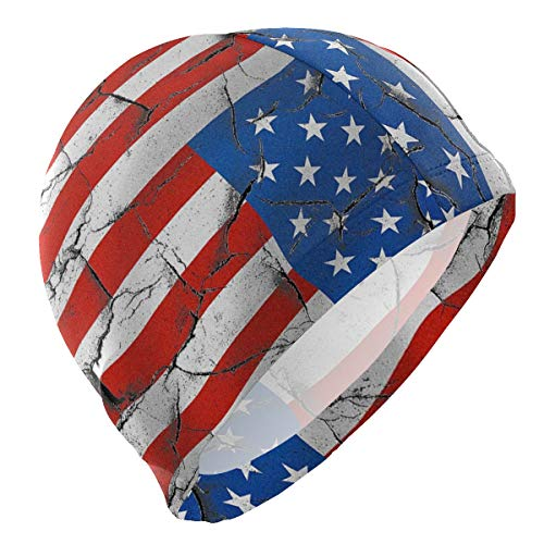 - zzxtfs Swim Cap American Flag Wall Mens Spandex Solid Swimming Skull Hat Cover Ears Comfortable Bathing Cap for for Water Sports,3D Ergonomic Design