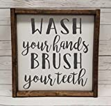 master bathroom pictures WASH your hands, BRUSH your teeth, Farmhouse sign, rustic decor, fixer upper style, bathroom decor art, kid or master bathroom