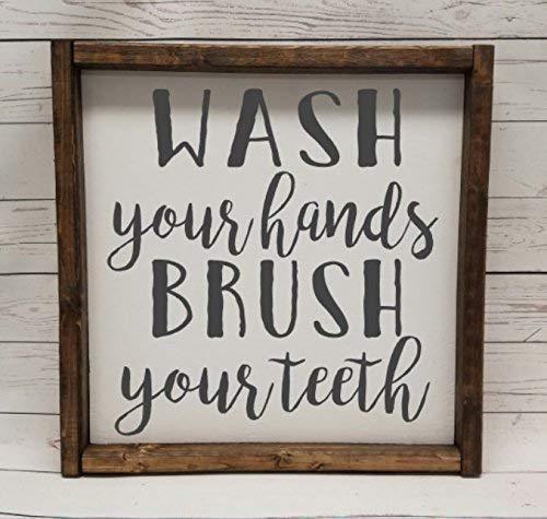 WASH your hands, BRUSH your teeth, Farmhouse sign, rustic decor, fixer upper style, bathroom decor art, kid or master bathroom