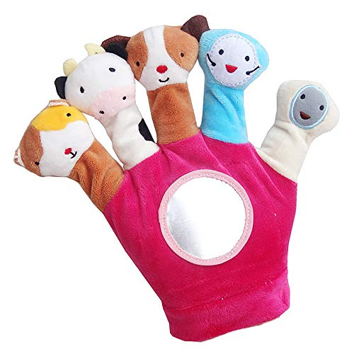 Novelty Glove Puppet Plush Finger Cartoon Doll Story Telling Parent-Child Interaction (Red)