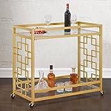 Retro Gold Tone Bar Cart Metal Serving Tray Table Coffee 2-Shelf Glass Kitchen Sofa Side Hall Entry