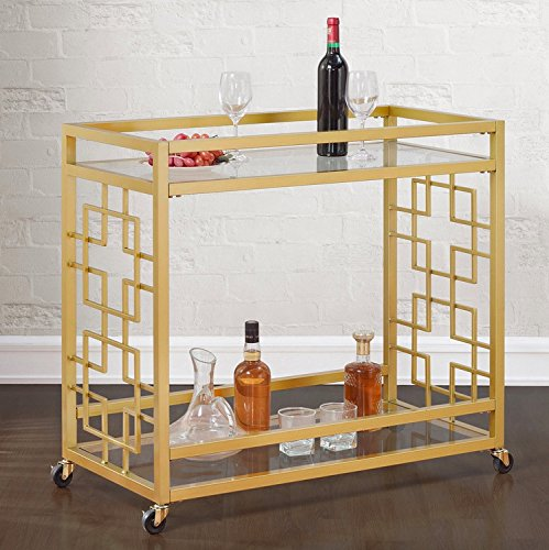 Retro Gold Tone Bar Cart Metal Serving Tray Table Coffee 2-Shelf Glass Kitchen Sofa Side Hall Entry