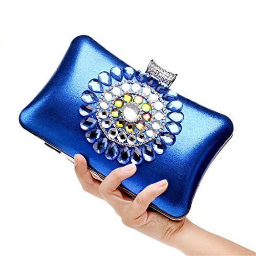 Blue Hard for Case Blue Womens Flada Bags Evening Luxurious Party Clutch Purse qPHEw1aTn
