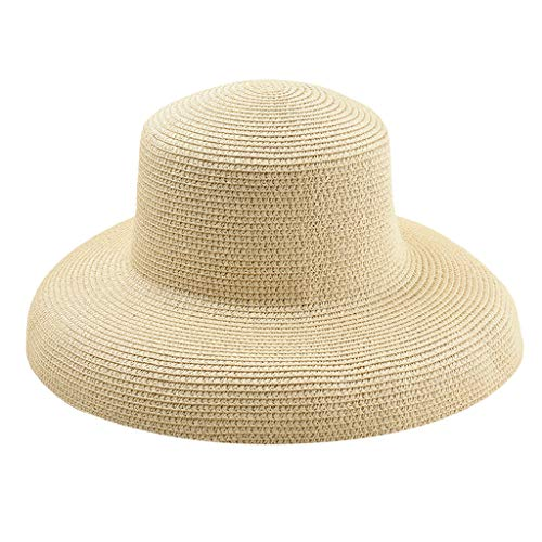 HYIRI Breathable Sun Straw Hat Wide Brim Summer Hat Foldable Roll Up Floppy Beach Hats for Women Beige]()