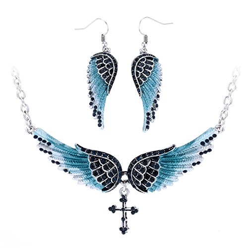Szxc Jewelry Women's Crystal Wings Cross Necklaces Earrings Jewelry Sets Biker Jewelry