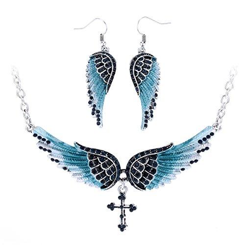- Szxc Jewelry Women's Crystal Wings Cross Necklaces Earrings Jewelry Sets Biker Jewelry