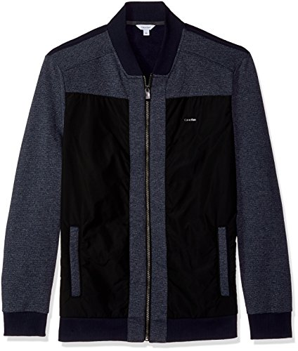 Calvin Klein Long Sleeve Cardigan - Calvin Klein Men's Long Sleeve Contrast Fabric Blocked Full Zip Bomber, Cadet Navy, X-Large