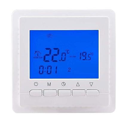 16A - Termostatos digitales programables de pared luz azul para calefaccion suelo por agua / calefaccion