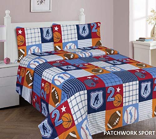 Sapphire Home 3 Piece Kids Girls Twin Sheet Set w/Fitted, Flat & 1 Pillow Case, Fun Print, Patchwork Sports Blue Window Curtain for Girls Boys, Patchwork Ports Twin Sheet