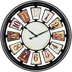 Bernhard Products Decorative Wall Clock Tuscan Style 14 Inch Silent Non-Ticking with Floating Number Panels Colorful Design for Home Kitchen Living Room Bedroom & Dining Room