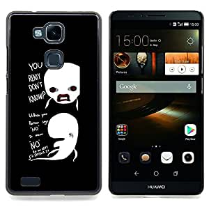 FUNNY - REALLY DON'T KNOW WHALES Caja protectora de pl¨¢stico duro Dise?ado King Case For HUAWEI Ascend Mate 7