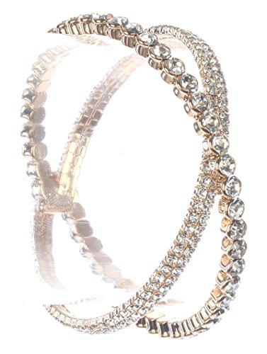 Parisian Chic Bracelet Crisscross Coil Wire Rhinestone Metal Setting Diameter Gold