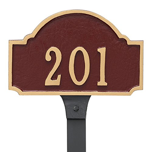 Montague Metal Fitzgerald Petite Address Sign Plaque with Lawn Stake, 4.5'' x 7.15'', Black/Silver by Montague Metal