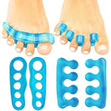 Toe Separators by ViveSole - (2 PAIRS) Silicone Gel Spacers - Pedicure Toe Spreaders - Toe Pads & Cushions for Men & Women