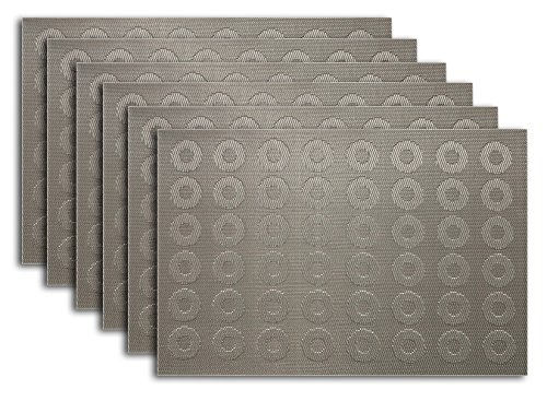 Placemat Set of 4/6 Reversible Circles Round Style Kitchen Table Decor Woven Vinyl Table Placemats Set Home Dinner Decorative by Secret Life (6, Circles Silver)