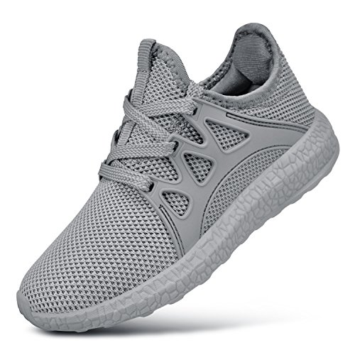 QANSI Child Kids Fashion Sneakers Ultra Lightweight Breathable Athletic Running Walking Tennis Shoes for Girls Boys 1.5 Little Kid Grey (Childrens Running Shoes)