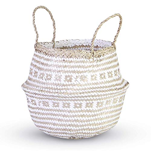 (HandyMake Seagrass Belly Basket – 10 Basket Planter Styles in Small, Medium or Large for Home Décor, Laundry, Storage, Toy Organizer, Picnic, Nursery Hamper Use (Seagrass Cross Plush White, Large) )