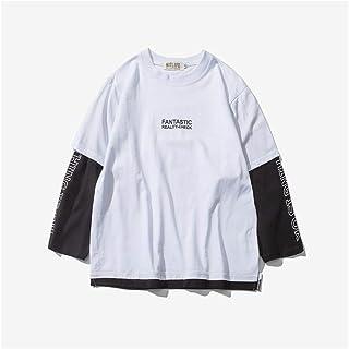 Shuo lan hu wai Nueva Camiseta Falsa de Manga Larga para Hombres con Dos Mangas Carta Manga Larga Estampada para Hombre de Cuello Redondo (Color : White, Size : M)