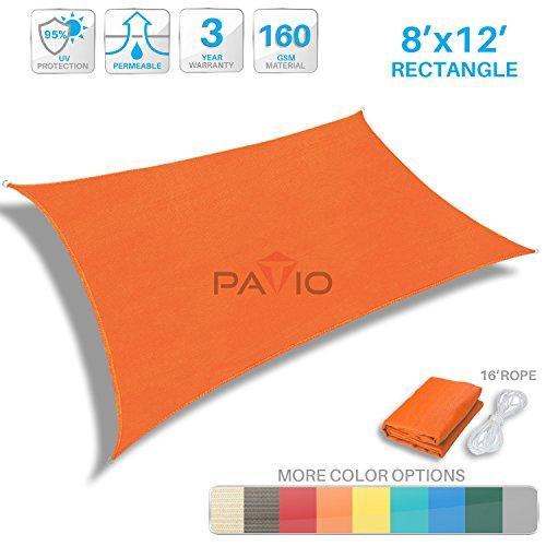 Patio Canopy (Patio Paradise 8' x 12' Orange Sun Shade Sail Rectangle Canopy - Permeable UV Block Fabric Durable Patio Outdoor - Customized Available)