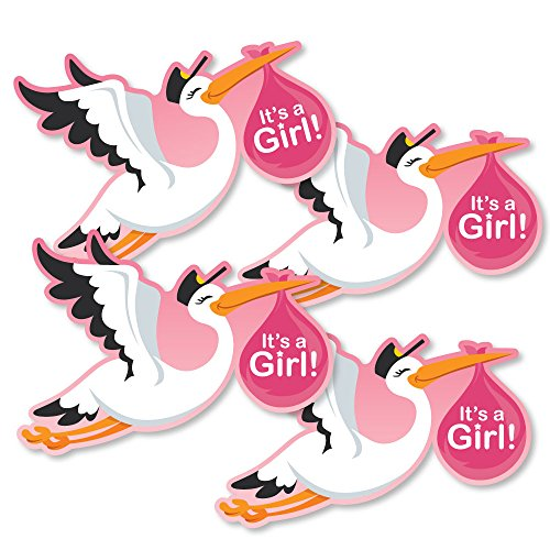 Stork Baby Girl Shower - Girl Special Delivery - Decorations DIY Pink It's A Girl Stork Baby Shower Party Essentials - Set of 20