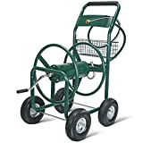 UenJoy Garden Water Hose Reel Cart 300FT Outdoor Heavy Duty Yard Water Planting Green