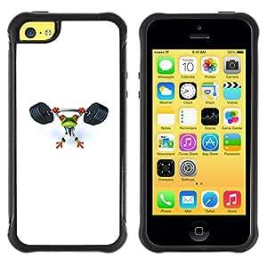 LASTONE PHONE CASE / Suave Silicona Caso Carcasa de Caucho Funda para Apple Iphone 5C / Gym Sports Frog White Weight Lifting