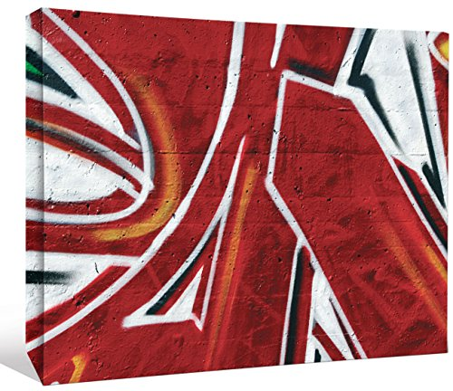 "JP London LCNV2183 Graffiti Red Spray Paint Funk 2"" Thick Heavyweight Stretched Canvas Wall Art Mural, 46"" x 34"" from JP London"