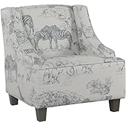 HomePop K6465-A841 Youth Upholstered Swoop Arm Accent Chair, Grey Jungle Print