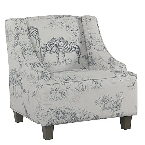 HomePop Youth Upholstered Swoop Arm Accent Chair,  Jungle Print (Safari Chairs Style)