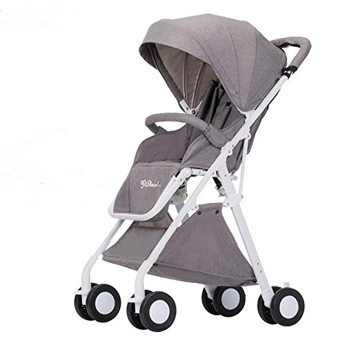 HGYG Lightweight Baby Stroller fold Newborn Infant Umbrella Carriage City Select High Landscape Trolley (Gray)