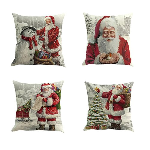 Christmas Pillow Case Set of 4 Wakeu Santa Claus Snowman Merry Christmas Decorative Sofa Throw Pillow Case Cushion Covers 18x18 Inch (Santa Claus) ()