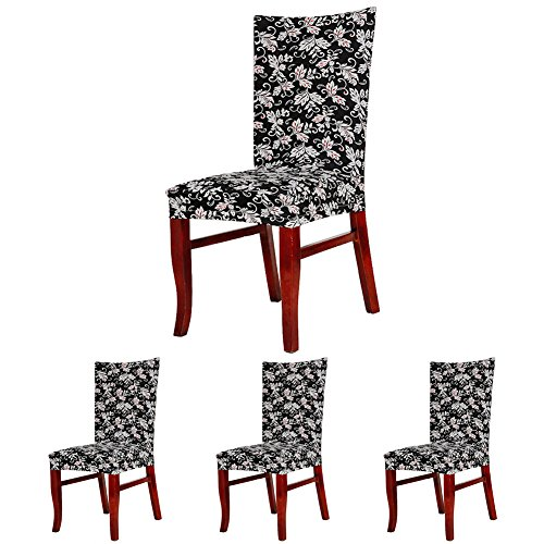 ColorBird Spandex Fabric Chair Slipcovers Removable Universal Stretch Elastic Chair Protector Covers for Dining Room, Hotel, Banquet, Ceremony (Set of 4, Black/White Scroll Flower)