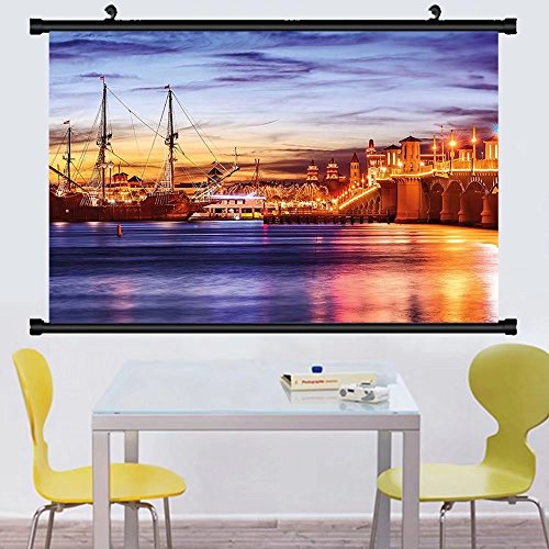 Gzhihine Wall Scroll United States St. Augustine Florida Famous Bridge of Lions Dreamy Sunset Majestic Wall Hanging Orange Blue Coral - Florida St Augustine Outlets
