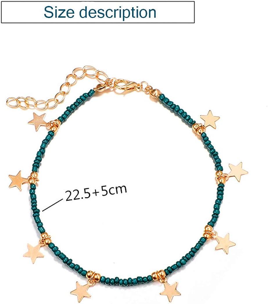 Tgirls Boho Star Anklet Pendant Beaded Foot Chain Tassel Bracelet Beach Jewelry for Women and Girls