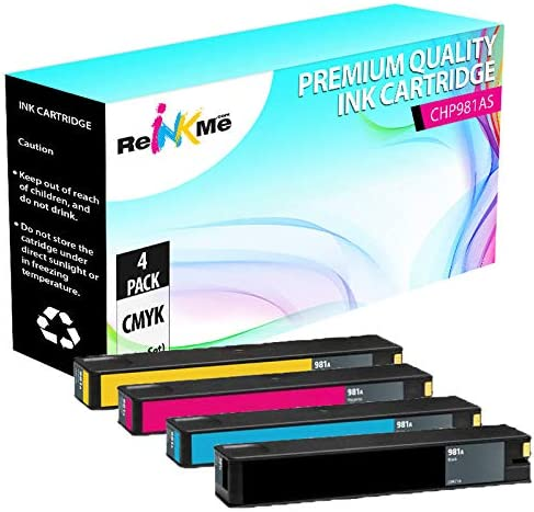ReInkMe Compatible 981A Black /& 3-Color Ink Cartridge Set for HP 586f 556xh