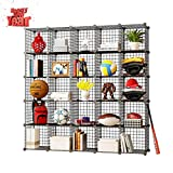 KOUSI Storage Cubes Wire Grid Modular Metal Cubbies Organizer Bookcases and Book Shelves Origami Multifunction Shelving Unit, Capacious & Customizable, Black, 25 Cubes