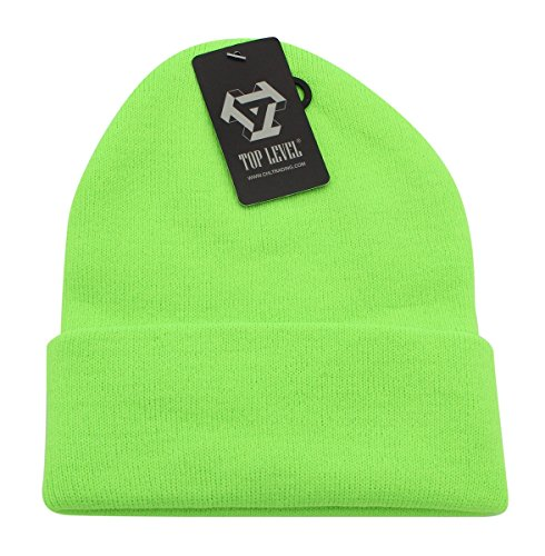 Knit Hat Green Cuffed (Top Level Unisex Cuffed Plain Skull Beanie toboggan Knit Hat/Cap In 20 Colors (Lime))