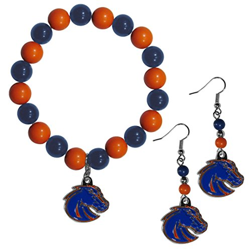 Siskiyou NCAA Boise State Broncos Fan Bead Earrings & Bracelet Set ()
