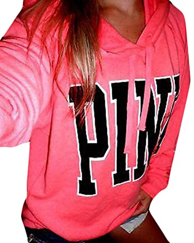 Price comparison product image YLnini Womens Casual Hoodie Letters Printed Long Sleeve Sweatshirt Pink L