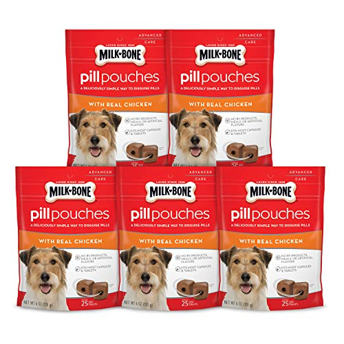 Milk-Bone Pill Pouches With Real Chicken Dog Treats - Pack Of 5 -