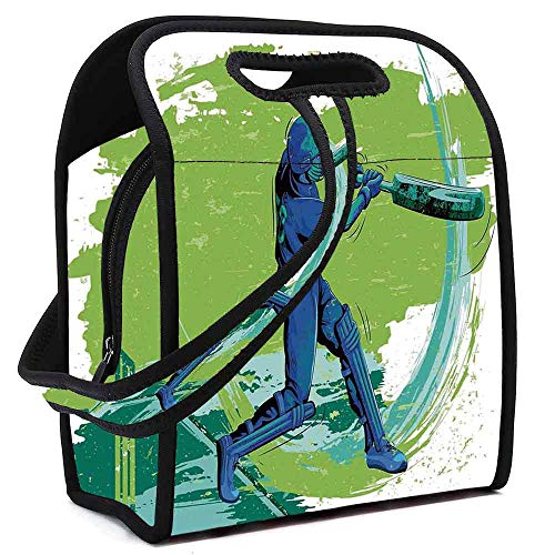 (Sports Printing Neoprene Lunch Bag,Cricket Player Pitching Win Game Champion Team Paintbrush Effect for Work Outdoor Travel Picnic,Square(8.5''L x 5.5''W x 11''H))