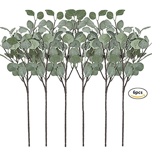 Artificial Greenery Stems 6 Pcs Straight Silver Dollar Eucalyptus Leaf Silk Greenery Bushes Plastic Plants Floral Greenery Stems for Home Party Wedding Decoration by Antiniska