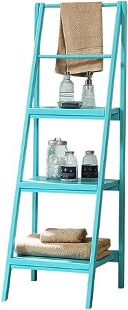 estantería de librería de Escalera de Madera Maciza de 4 Niveles Unidad Almacenamiento Inclinada Azul/marrón / Blanco 46 * 34 * 134cm (Color : Azul): Amazon.es: Hogar