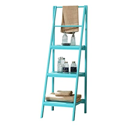 ZHIRONG 4 Tier Solid Wood Ladder Bookshelf Bookcase Leaning Storage Shelf Unit Blue Brown