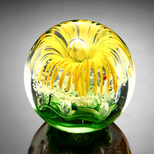 Yellow Flower Paperweight Glass Sphere 3.5