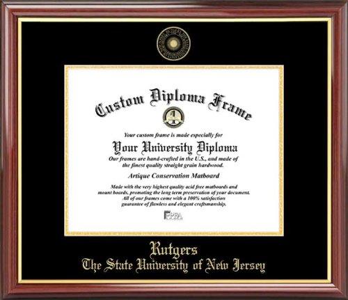 Rutgers Diploma Frame - Laminated Visuals Rutgers University Scarlet Knights - Embossed Seal - Mahogany Gold Trim - Diploma Frame