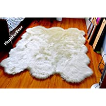 Faux Fur Sheepskin Fur Accents Shag Pelt Rug White 7 ' by Fur Accents